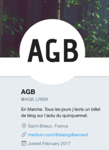 """Capture d'écran du compte Twitter """"@AlainGdBernard"""" renommé en """"@AGB_LREM"""""""