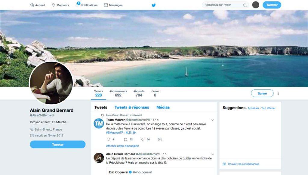"""Compte twitter de Alain Grand Bernard @AlainGdBernard """"Citoyen attentif. En Marche."""""""