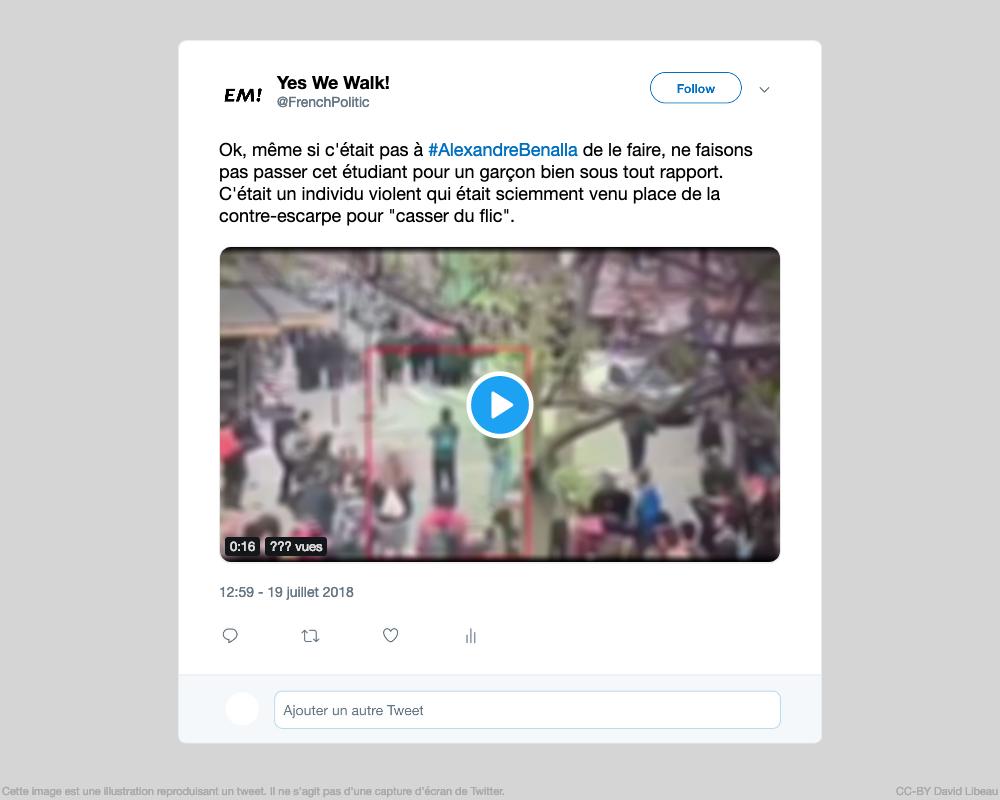 """@FrenchPolitic : Ok, même si c'était pas à #AlexandreBenalla de le faire, ne faisons pas passer cet étudiant pour un garçon bien sous tout rapport. C'était un individu violent qui était sciemment venu place de la contre-escarpe pour """"casser du flic"""". (Vidéo) 19/07/2018 12:59:??"""