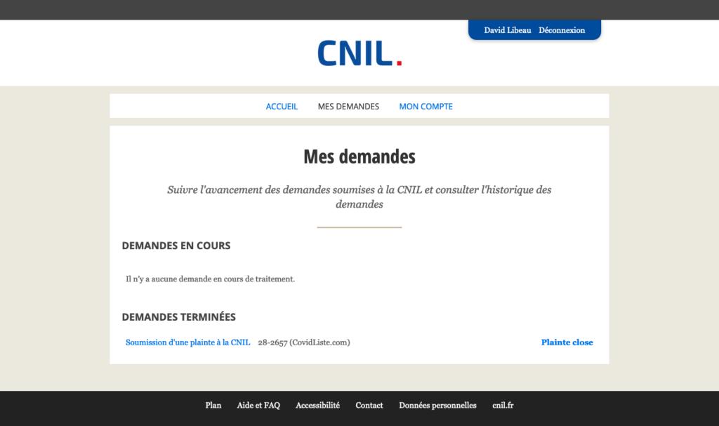 Capture d'écran du site web de la CNIL