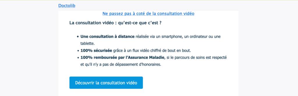 Capture d'écran d'un courriel de publicité envoyé par Doctolib