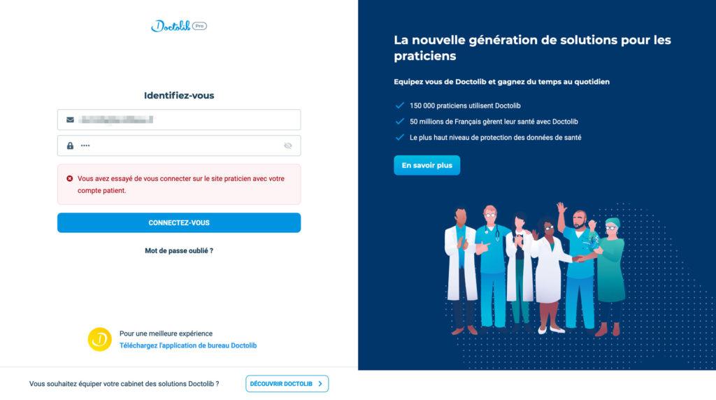 """Capture d'écran du site pro.doctolib.fr avec le message d'erreur """"Vous avez essayé de vous connecter sur le site praticien avec votre compte patient."""""""
